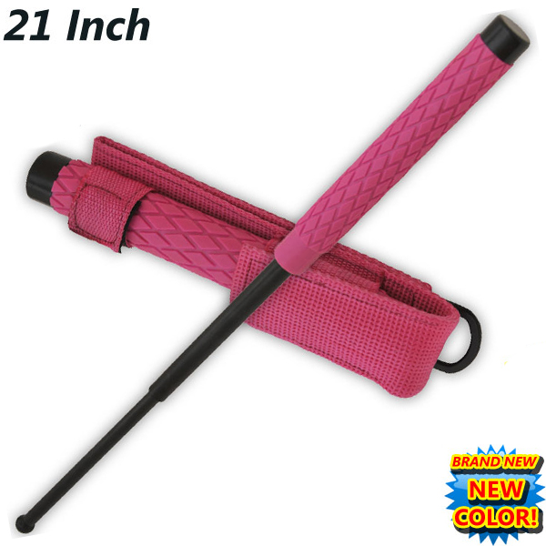 21 Inch Baton Self Defense Solid Steel Police Stick W/Case (Pink) NS-21-PK