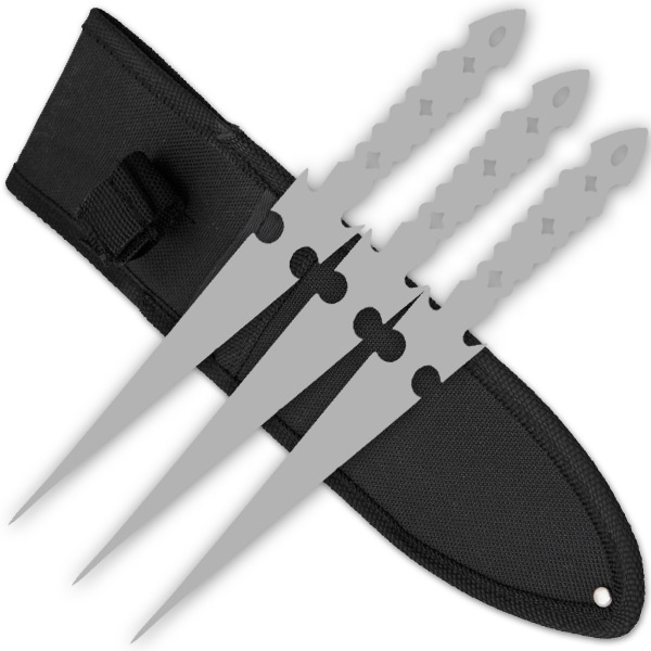 3 PCS 9 Inch Tiger Throwing Knives W/ Case - Silver-5