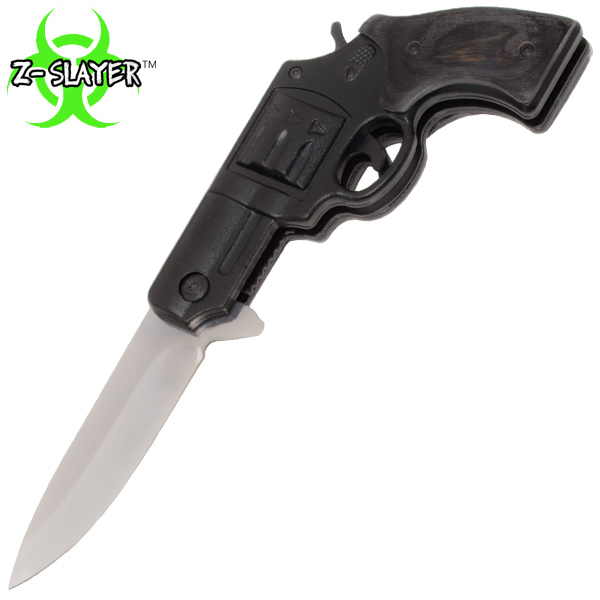 7.25 Inch Z-Slayer Undead Gasher Pistol Knife, Black Mirror Finish Blade