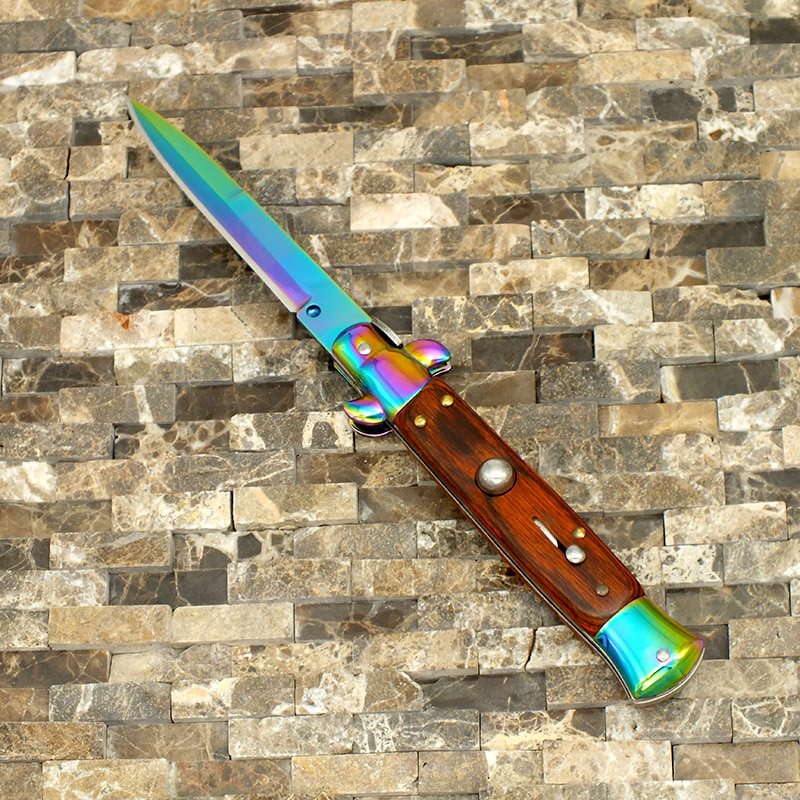 OG Godfather Italian Rainbow Stiletto Button Action Switchblade with quality Wood Handle