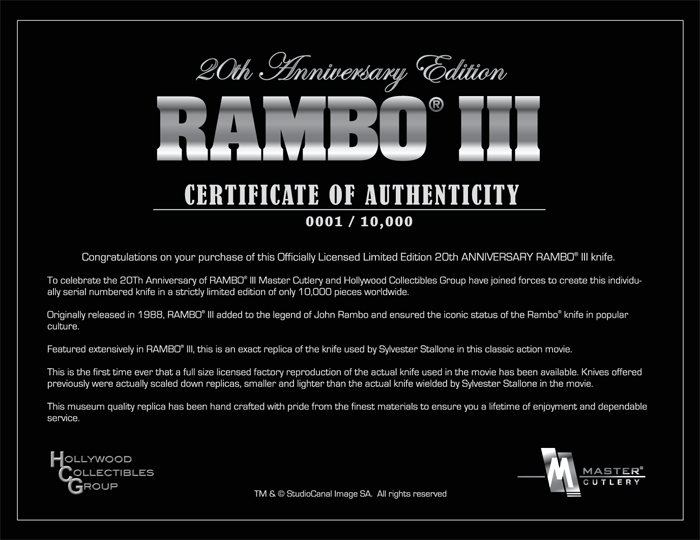Rambo III Knife - 20th Anniversary Edition, MC-RB3A20