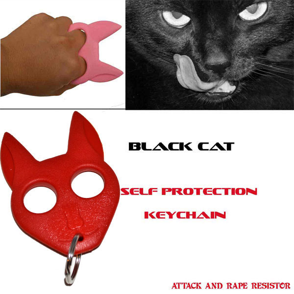 Black Cat Self Defense Keychain Red Cat Rd