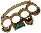Haute Death Couture Fashion Brass Knuckles, Gold