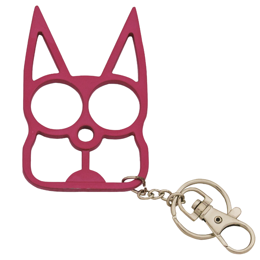 Cat Self Defense Solid Steel Public Safety Keychain Knuckles Pink