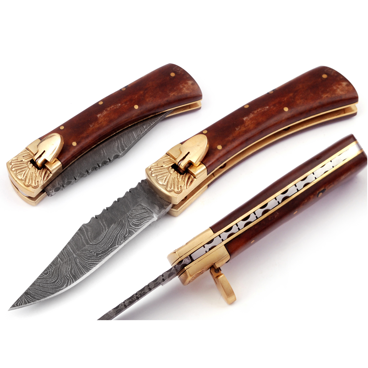 Damascus Leverletto Natural Wood Spring Asssited Folding Knife
