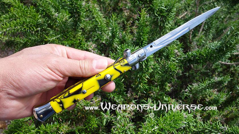 Italian Switchblade Stiletto, Yellow with Black Swirls, 11
