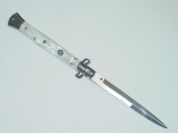 Italian Stiletto Switchblade, 9 inches, Ivory
