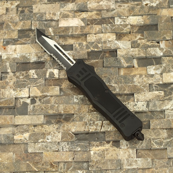 Delta Force OTF Out The Front Automatic Serrated Tanto Knife, Black