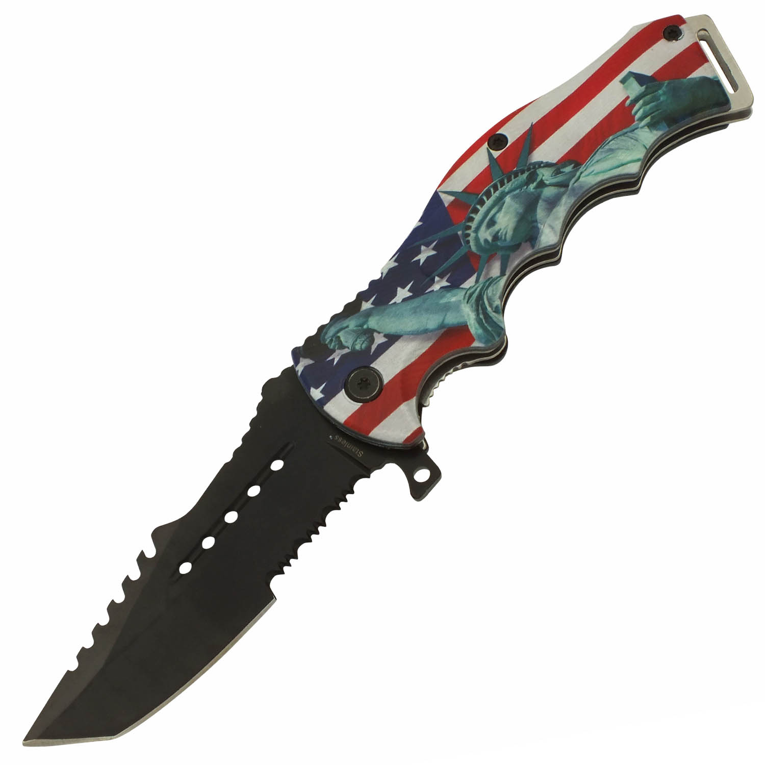 American Pride Statue Of Liberty Spring Assisted Folding Pocket Knife
