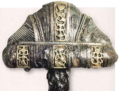 pictures of vikings weapons. ABOVE: A Viking sword hilt