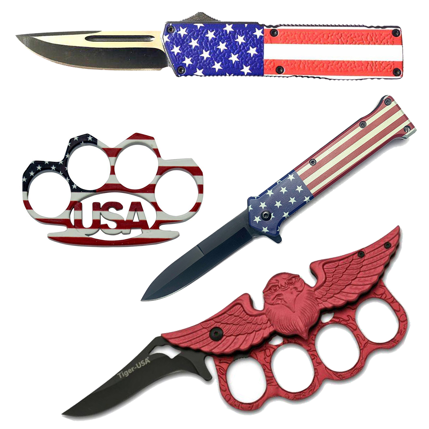 USA! USA! Set with Automatic Knife and Brass Knuckles