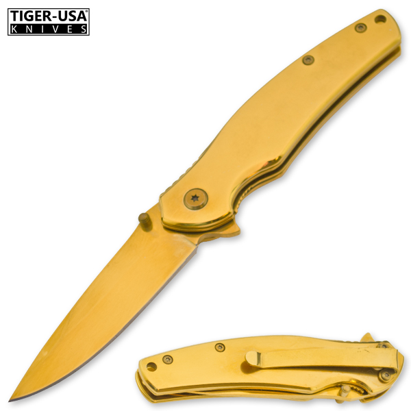 AgNu Spring Assisted Gold Drop Point Folder