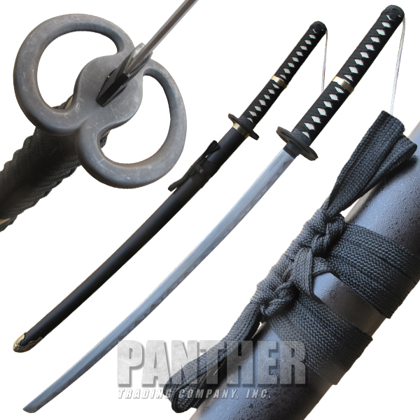 Black Katana Samurai Sword Antique Brass Finish Accents