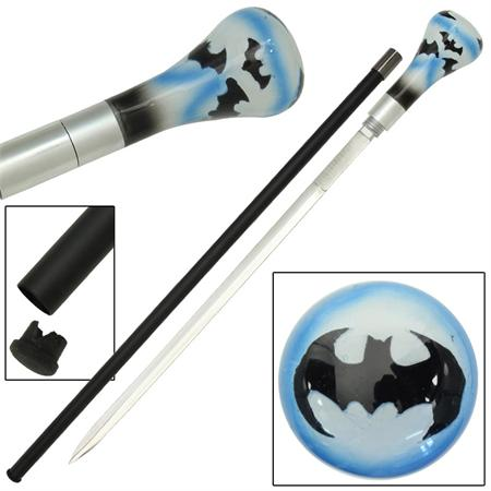 Blue Bat Removable Blade Sword Cane Walking Stick IG0793