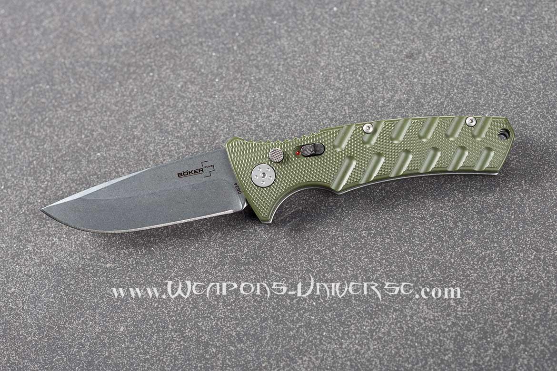 Boker 402N Plus Strike Automatic Knife, Green, Spearpoint