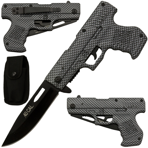 Carbon Fiber Style Spring Assisted Pistol Knife