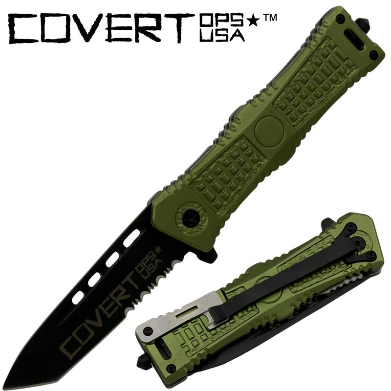 Covert Ops Tanto Blade Spring Assisted Knife, Green