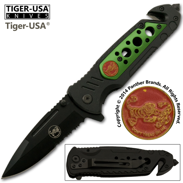 Don't Tread On Me Spring Assisted Tactical Knife, Green