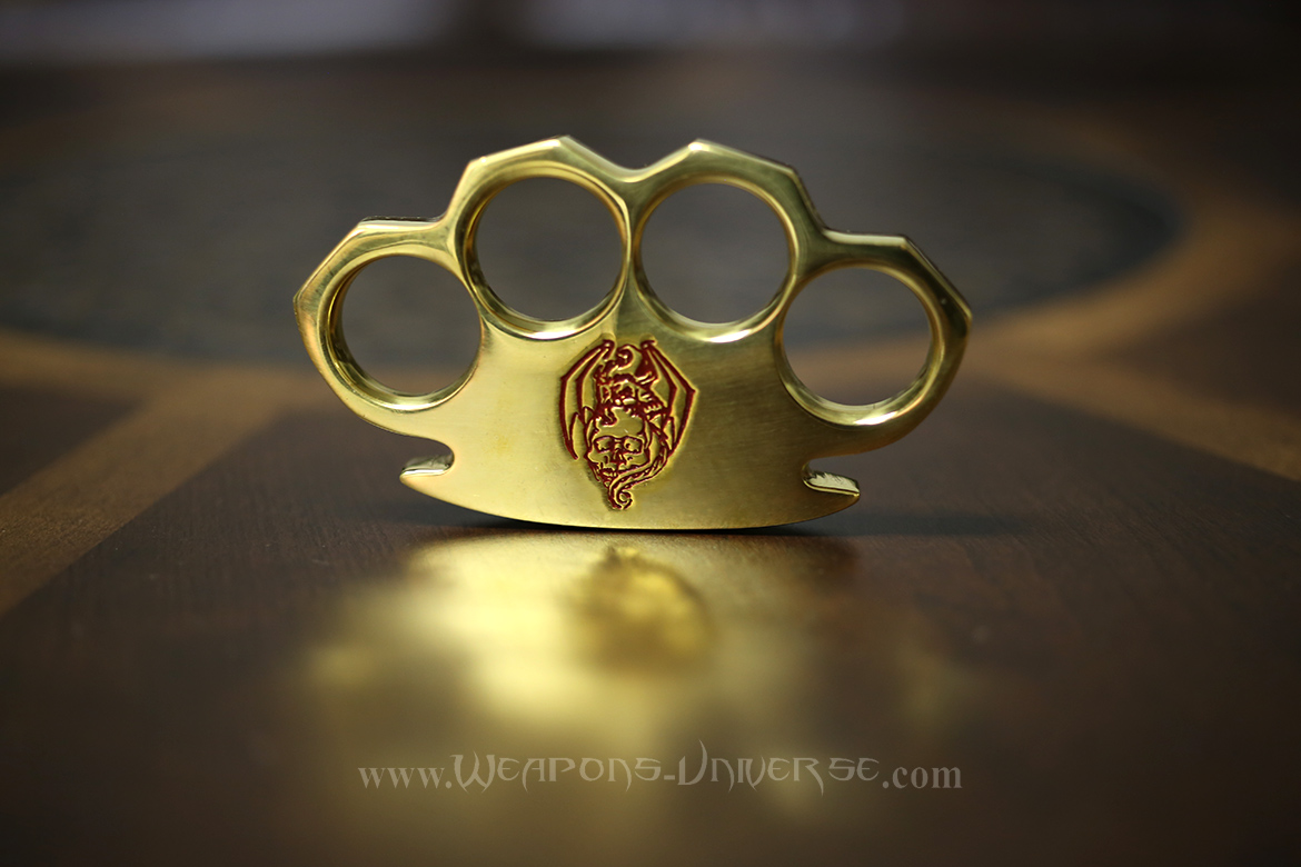 Dragon Skull Real Brass Knuckles, Red