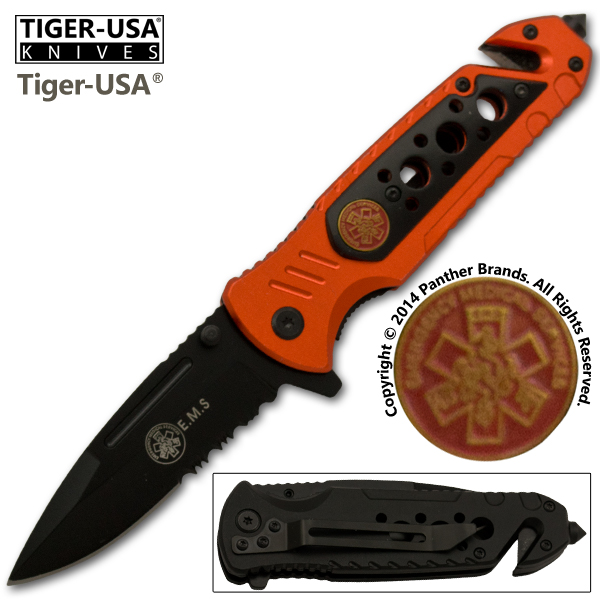 EMS Spring Assisted Tactical Knife, Orange