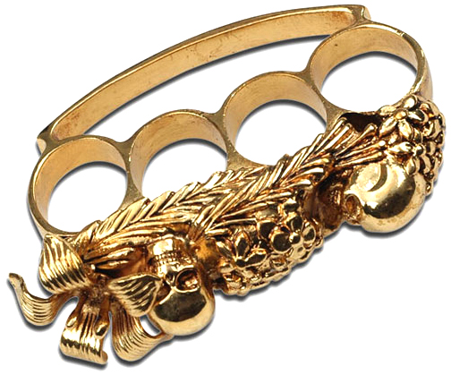 Fantasy Skull Brass Knuckles, Gold