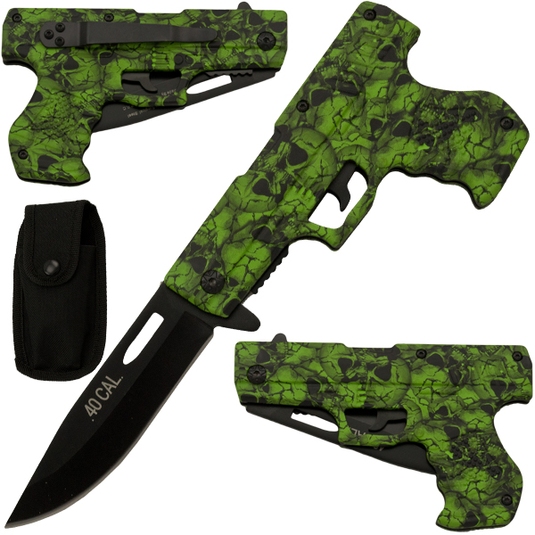 Green Skull Spring Assisted Gun Pistol Knife