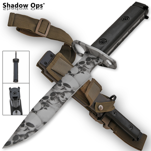 Heavy Duty Shadow Ops Bayonet Undead Skull - Grey YF-02-SL