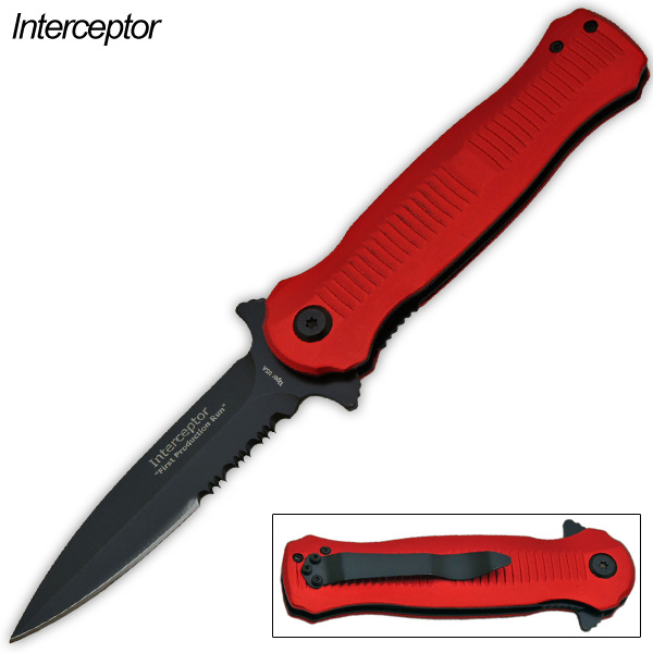 Interceptor-Action Packed Folding Knife, Red