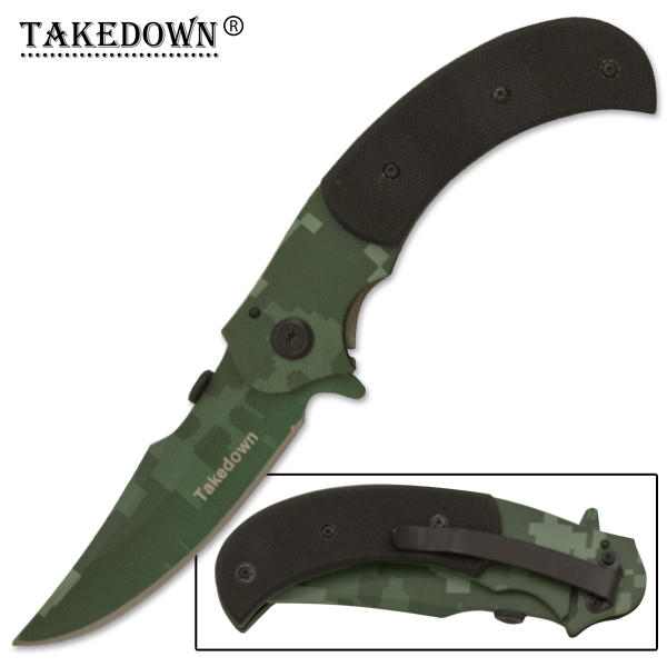 Jagged Edged Folding Knife, Camo Green