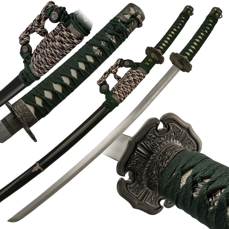 Jet Black Katana With Multicolored Hanging Cord Samurai Sword