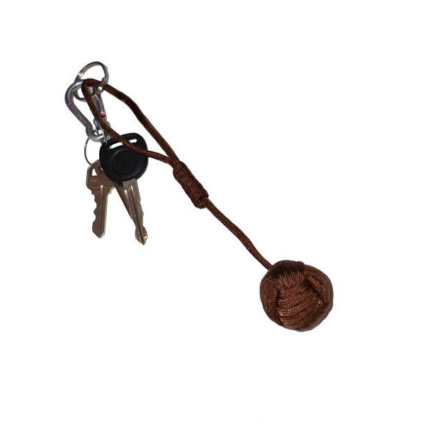 Large Self Defense Monkey Fist Keychain, Coyote Brown