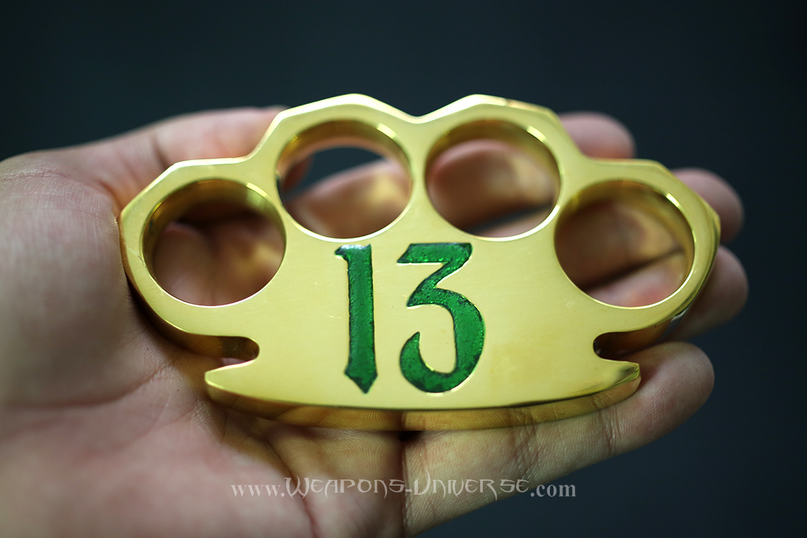 Lucky 13 Real Brass Knuckles, Green