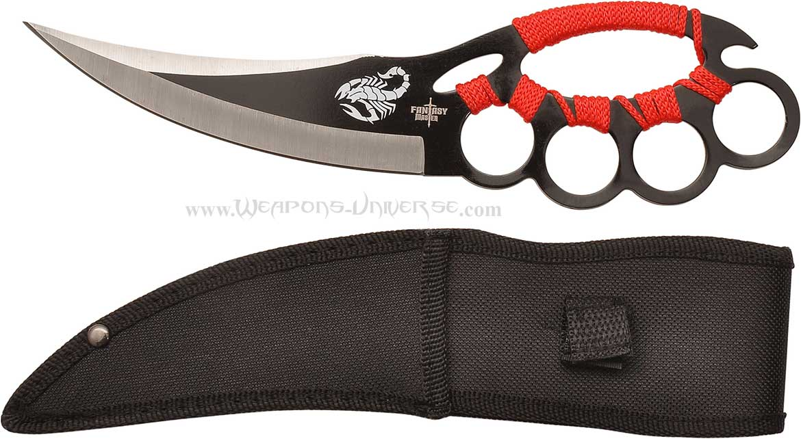 Master Cutlery FM-617R Scorpion Knuckle Trench Knife, Red