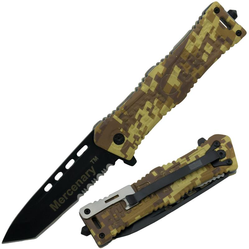 Mercenary 8 Inch Tanto Blade Spring Assisted Knife, Khaki