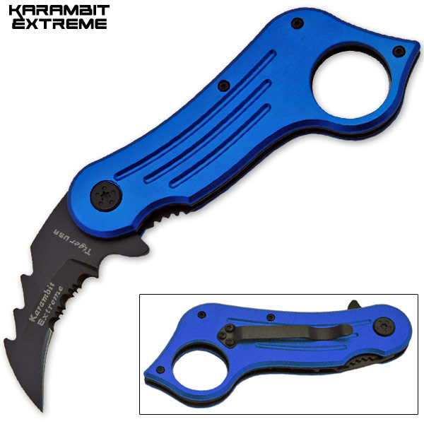 Mini Combat Karambit Spring Assisted Knife, Blue