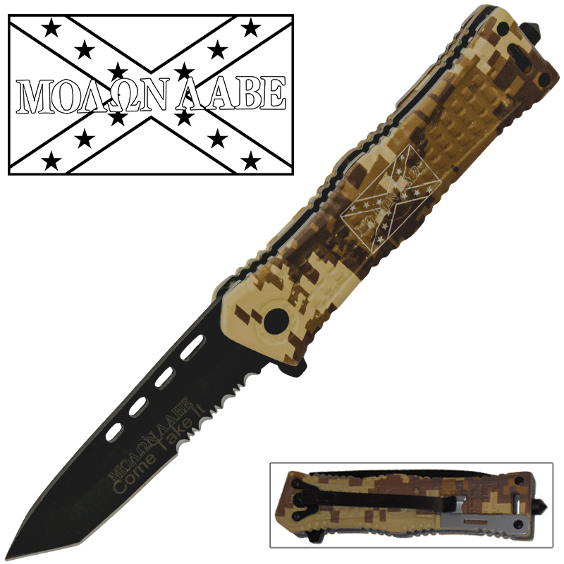 Molon labe Come and Get It Spring Assisted Knife - Digital Desert Camo