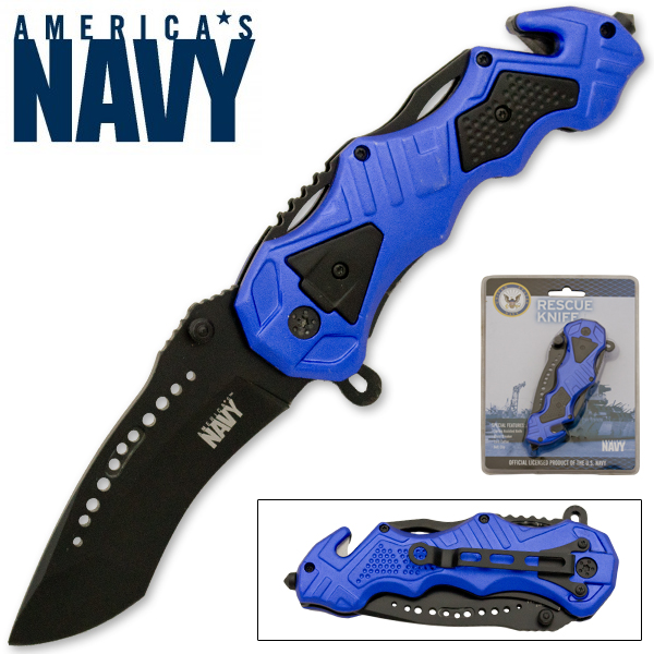 Official U.S. Navy Spring Assisted Action Knife, Blue