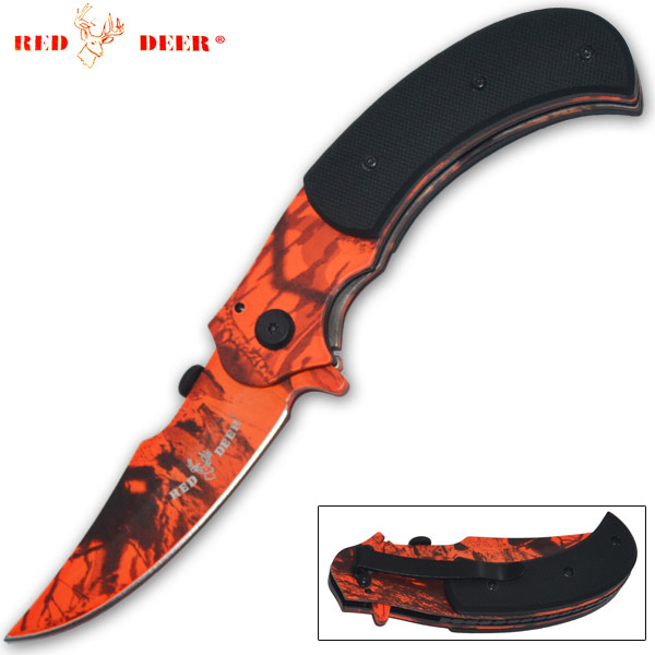 Red Deer Spring Assisted Outdoor Skinner Knife, Forest Camo
