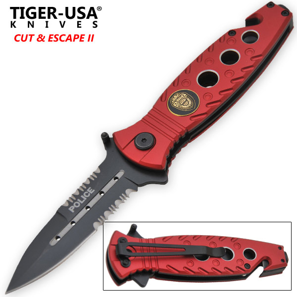 Red Police Tactical Spring Assisted Folding Knife-1