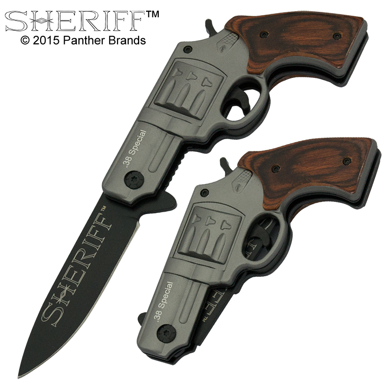 Sheriff .38 Special Revolver Knife, Brown