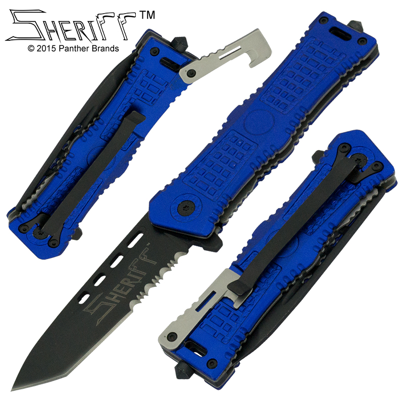 Sheriff Special Operation Spring Assisted Knife, Blue