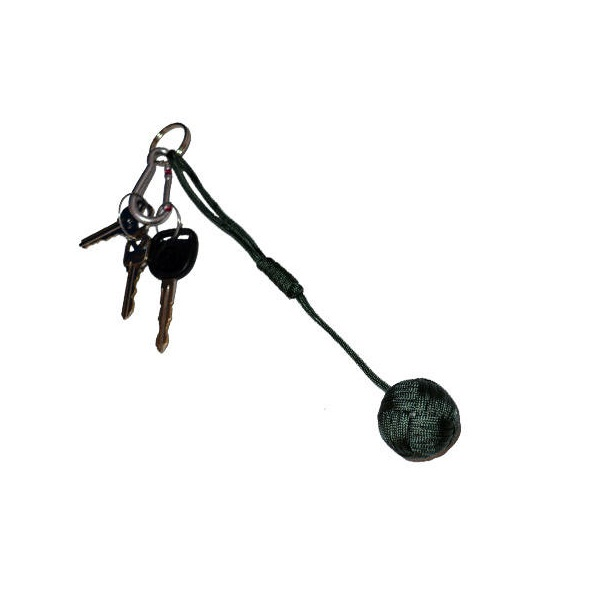Small Self Defense Monkey Fist Keychain, Olive Green