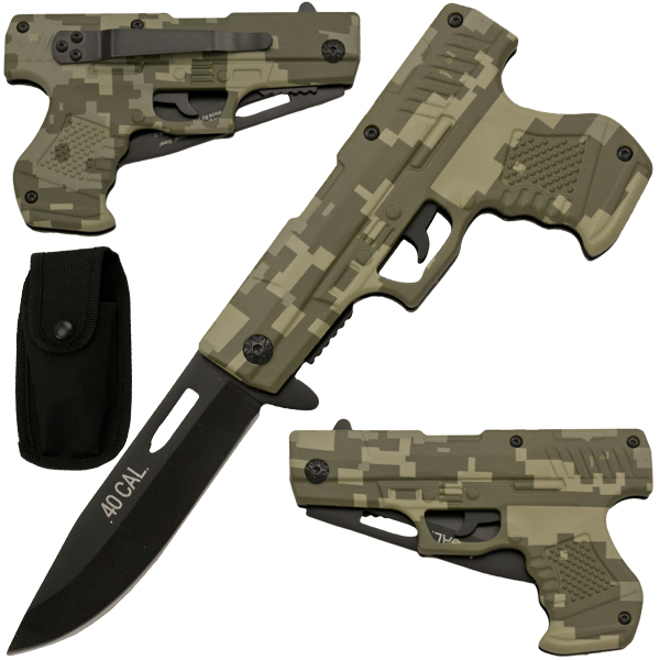 Spring Assisted Gun Pistol Knife - Camo 1