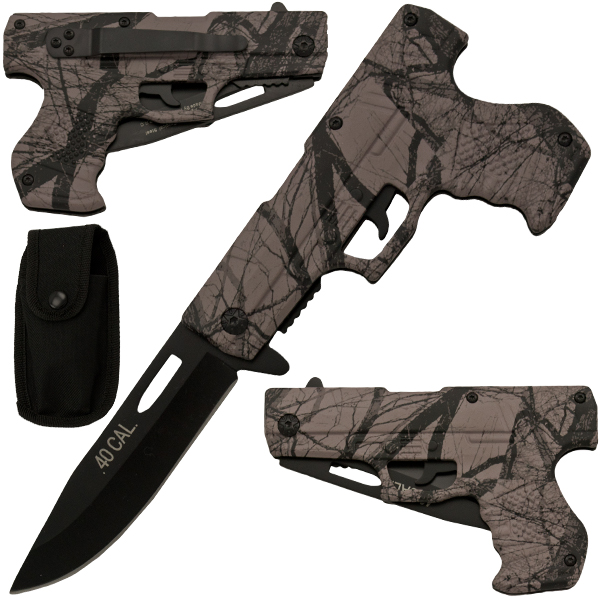 Spring Assisted Gun Pistol Knife - Camo 3