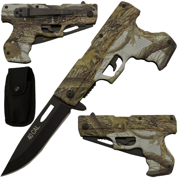 Spring Assisted Gun Pistol Knife - Camo 4