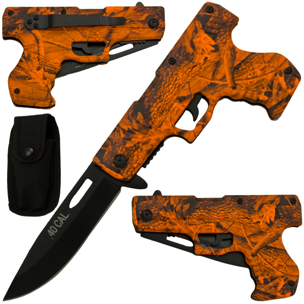 Spring Assisted Gun Pistol Knife - Camo 6