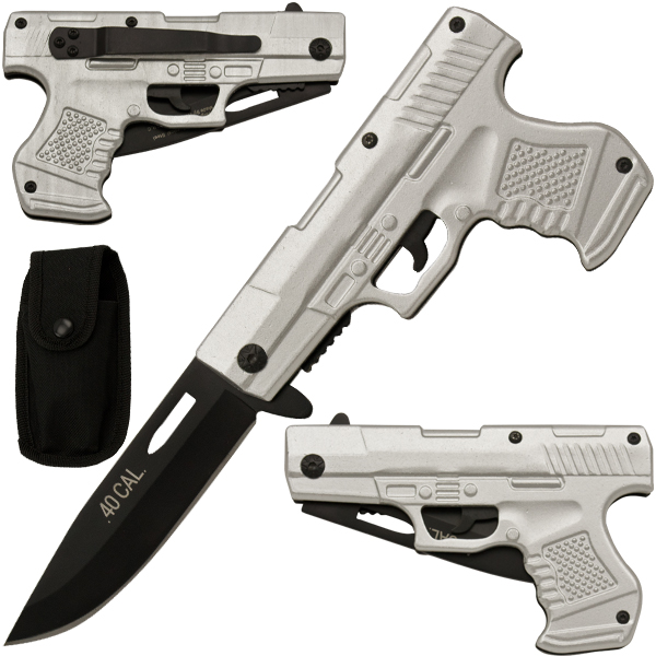 Spring Assisted Gun Pistol Knife - Silver