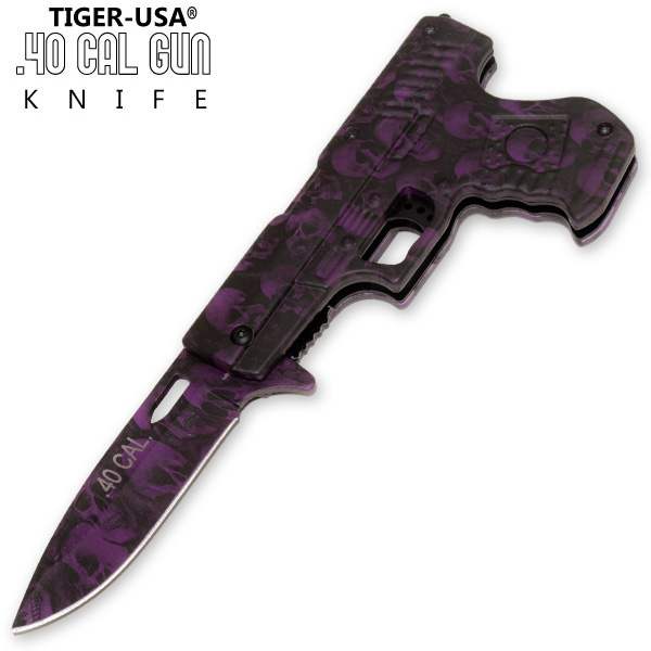 40 Cal Trigger Assisted Knife - Purple Skull PA0211-CM12