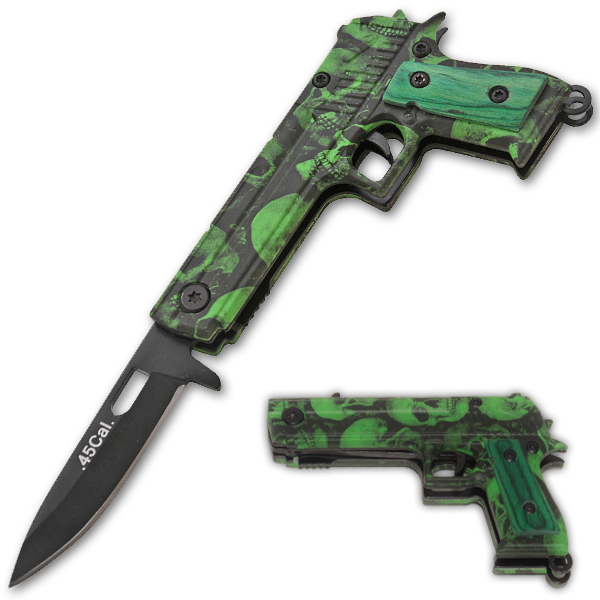 45 Cal Trigger Assisted Knife - Green Skull CS-1911-SK-GR