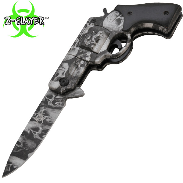 7.25 Inch Z-Slayer Undead Gasher Pistol Knife (Silver) TF-706-SK-SL